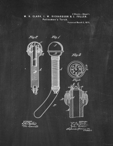 Policemen's Torch Patent Print Art Poster Chalkboard (8.5' x 11')