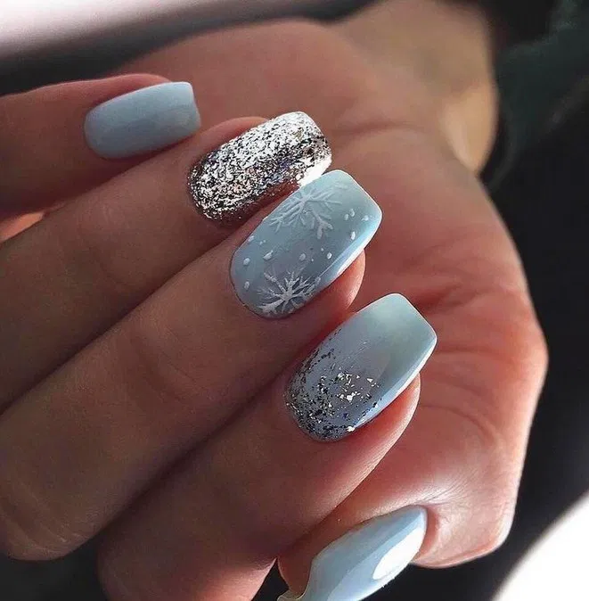 Top 50 Light Color Christmas Snowflake Coffin Nails In 2020 Latest Fashion Trends For Women 23 Galeryh Square Acrylic Nails Coffin Nails Designs Trendy Nails