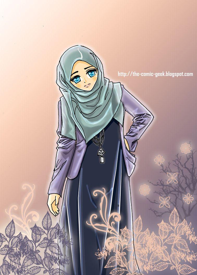 anime manga hijab art Kartun