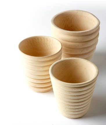 Small wooden cups