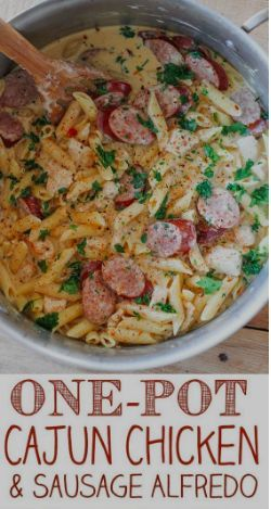 One Pot Cajun Chicken and Sausage Alfredo Pasta images