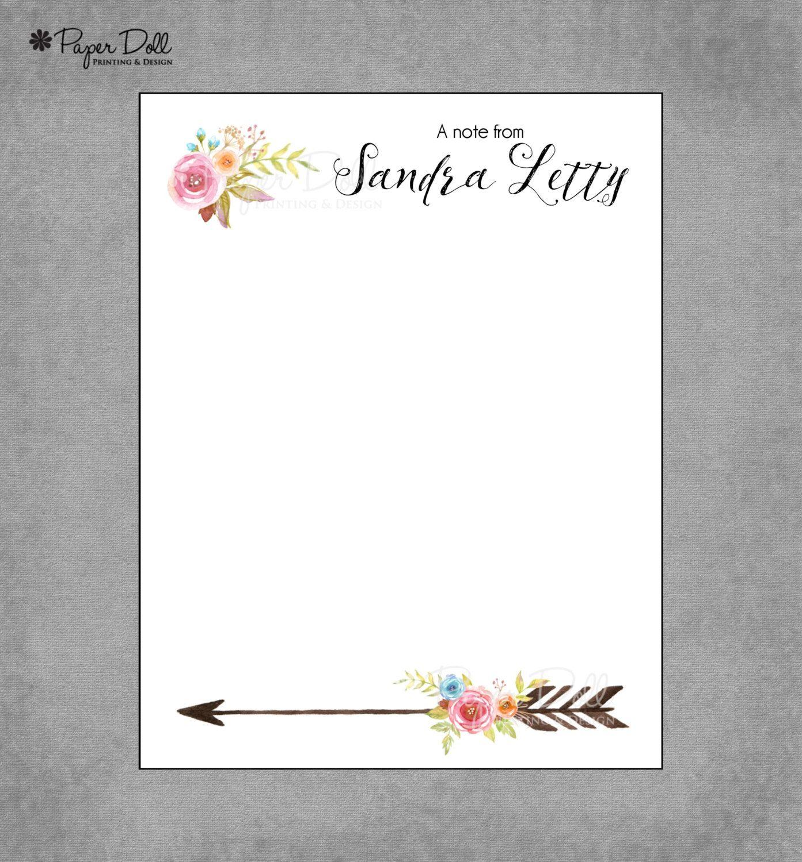 Notepad Watercolor Fl Personalized Custom Notepads Boho Arrow Bohemian Teacher Gift