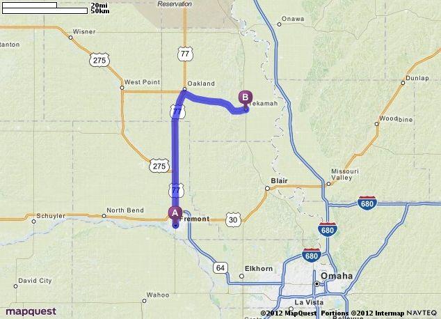 Driving Directions from Fremont Nebraska to Tekamah Nebraska