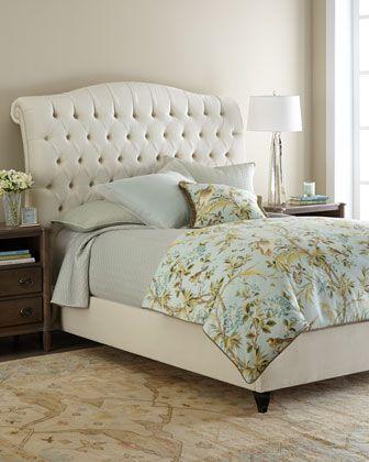 Best Harper Tufted Ivory Velvet Queen Bed Simple Bedroom 400 x 300