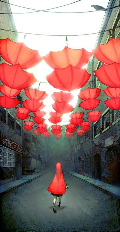 Alegría Ang paraguas rojos