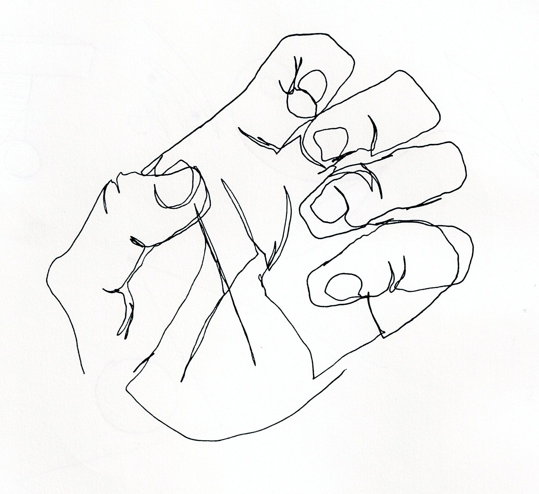 Contour Line Drawing Hand