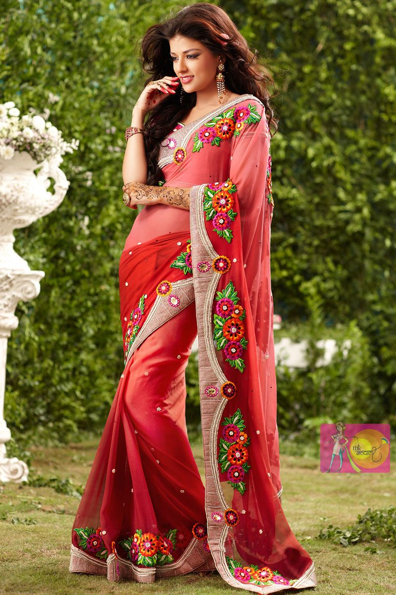 1a7d2f69dc Stylish red Georgette party wear saree with corn flower lace border Party  wear sarees