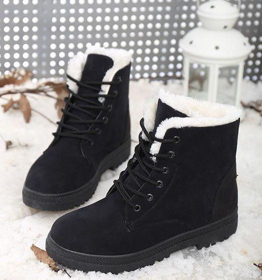 Snow Boots Tenworld Women's Winter Warm Fur-lined Ankle Booties (7 Black)