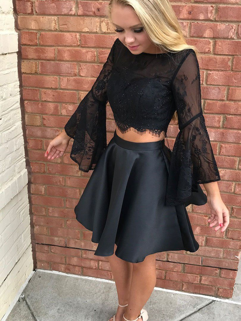 Black lace piece homecoming dresses with sleeveslittle black