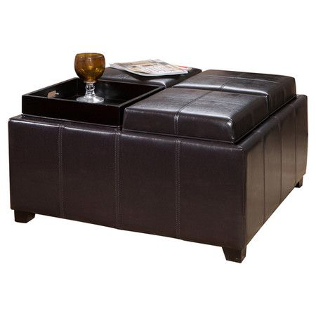 Storage Ottoman With Reversible Tray Top Droughtrelief Org