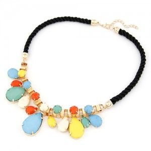 Waterdrop Attached Metallic Rope Mix Style Necklace - Multicolor