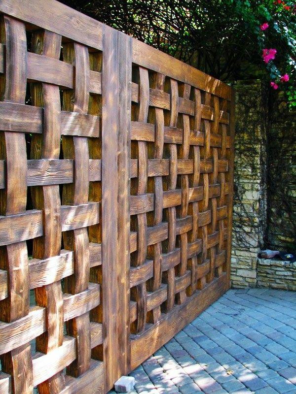 interesting wooden fence garden design | Woven wood fence ...