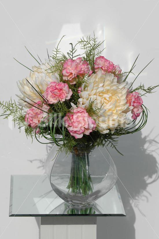 Chrysanthemum And Carnation Bouquets Ivory Chrysanthemum And Pink Carnation Artific Flower Bouquet Vase Flower Arrangements Artificial Flowers Wedding