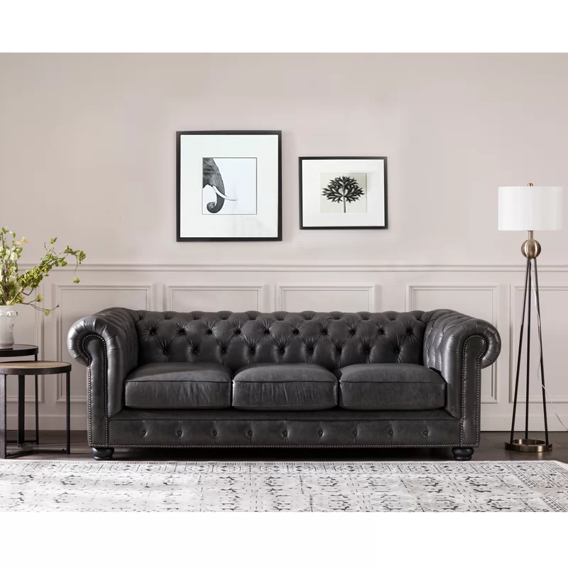 Brinson Genuine Leather Chesterfield 95 Rolled Arm Sofa In 2020 Leather Chesterfield Sofa Rolled Arm Sofa Chesterfield Sofa