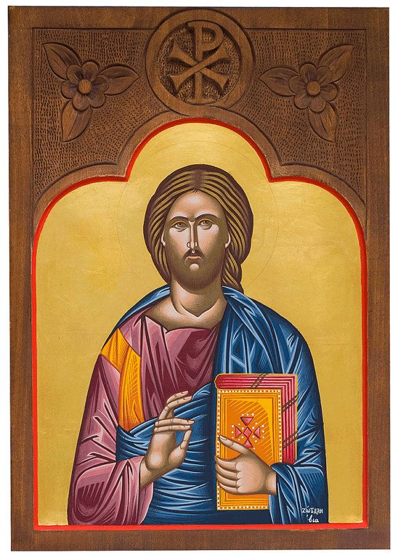 Christ  Pantocrator.Hand painted icon christian by myBlueBrush
