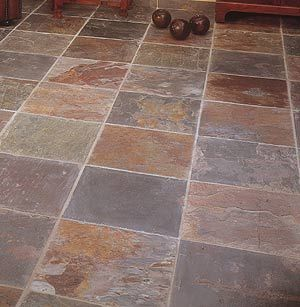 multi color terracotta tile floor