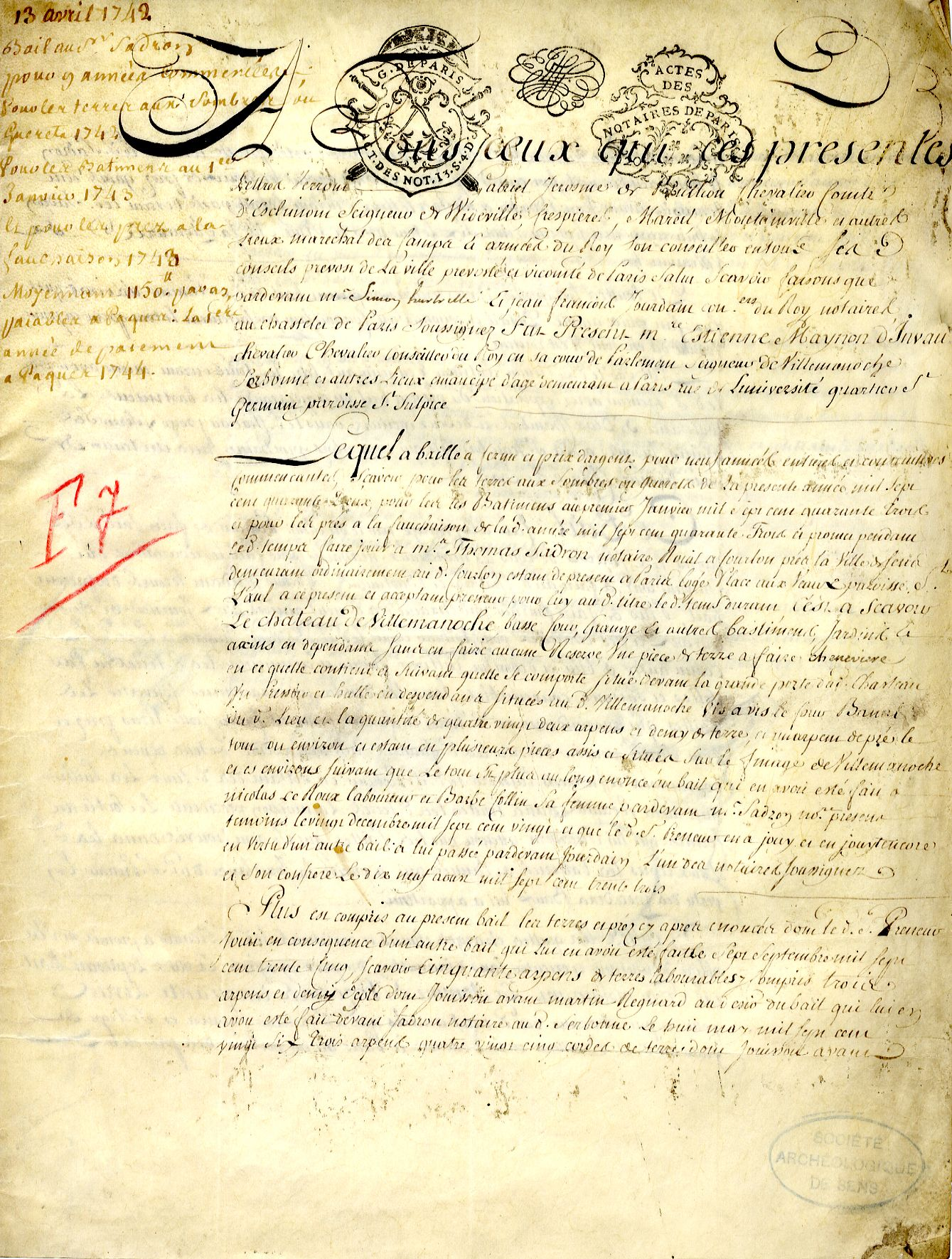 Acte notarié daté, manuscrit sur parchemin, concernant les terres du château de Villemanoche (1742) (Bibliothèque - documentation du Cerep-Musées de Sens) http://www.bibliotheques-sens.fr/