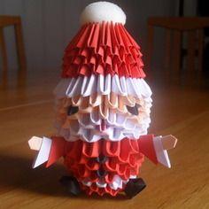Père noël rouge en origami modulaire