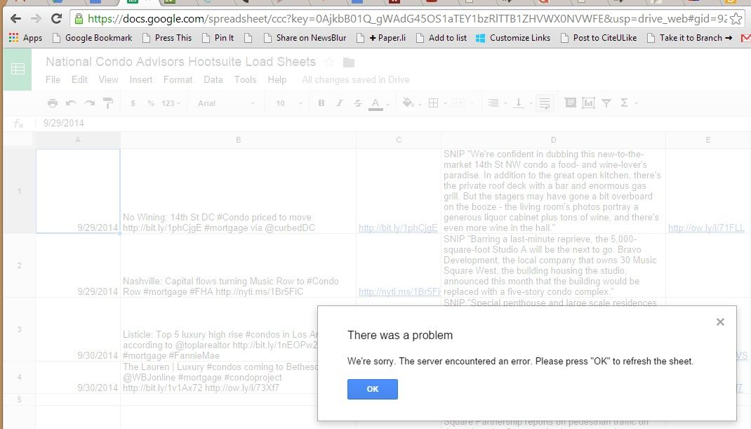 Google Docs spreadsheet display error #Fail Software (Error - google docs spreadsheet