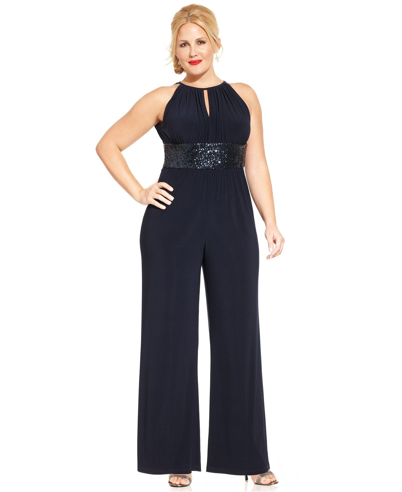 07933551ded4d R M Richards Plus Size Wide-Leg Sequin Jumpsuit - Dresses - Plus Sizes -  Macy s