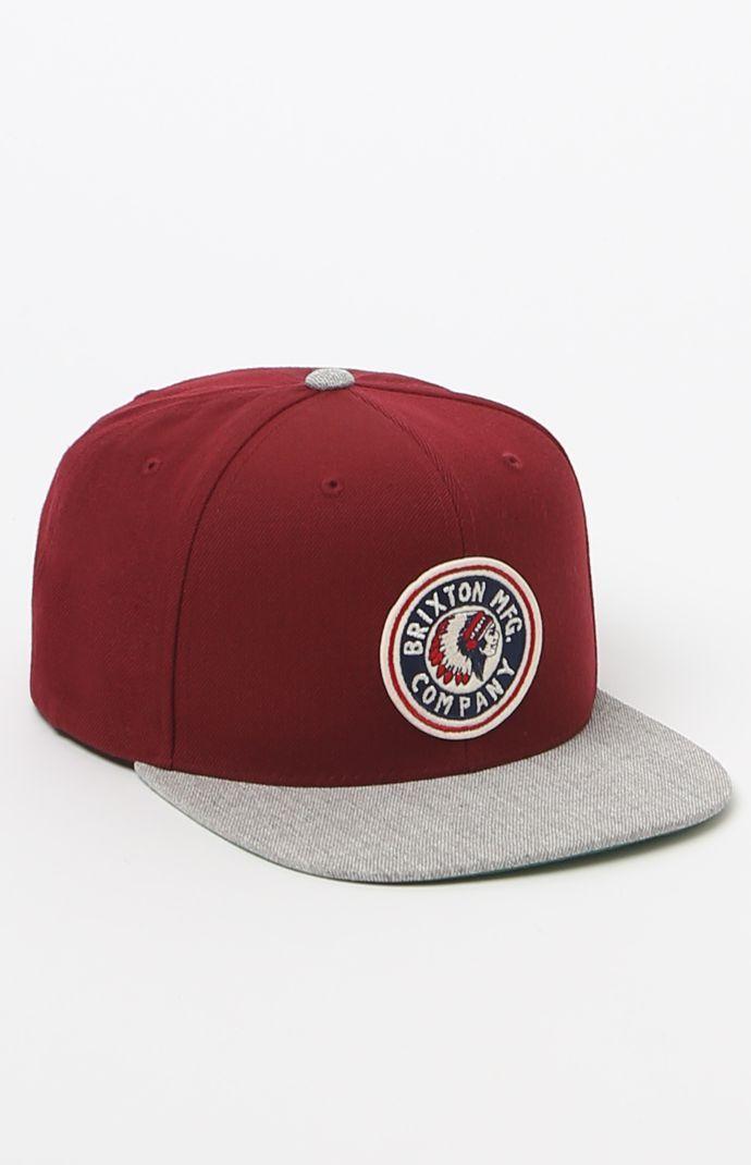 88964ec864e Rival Burgundy Snapback Hat Brixton