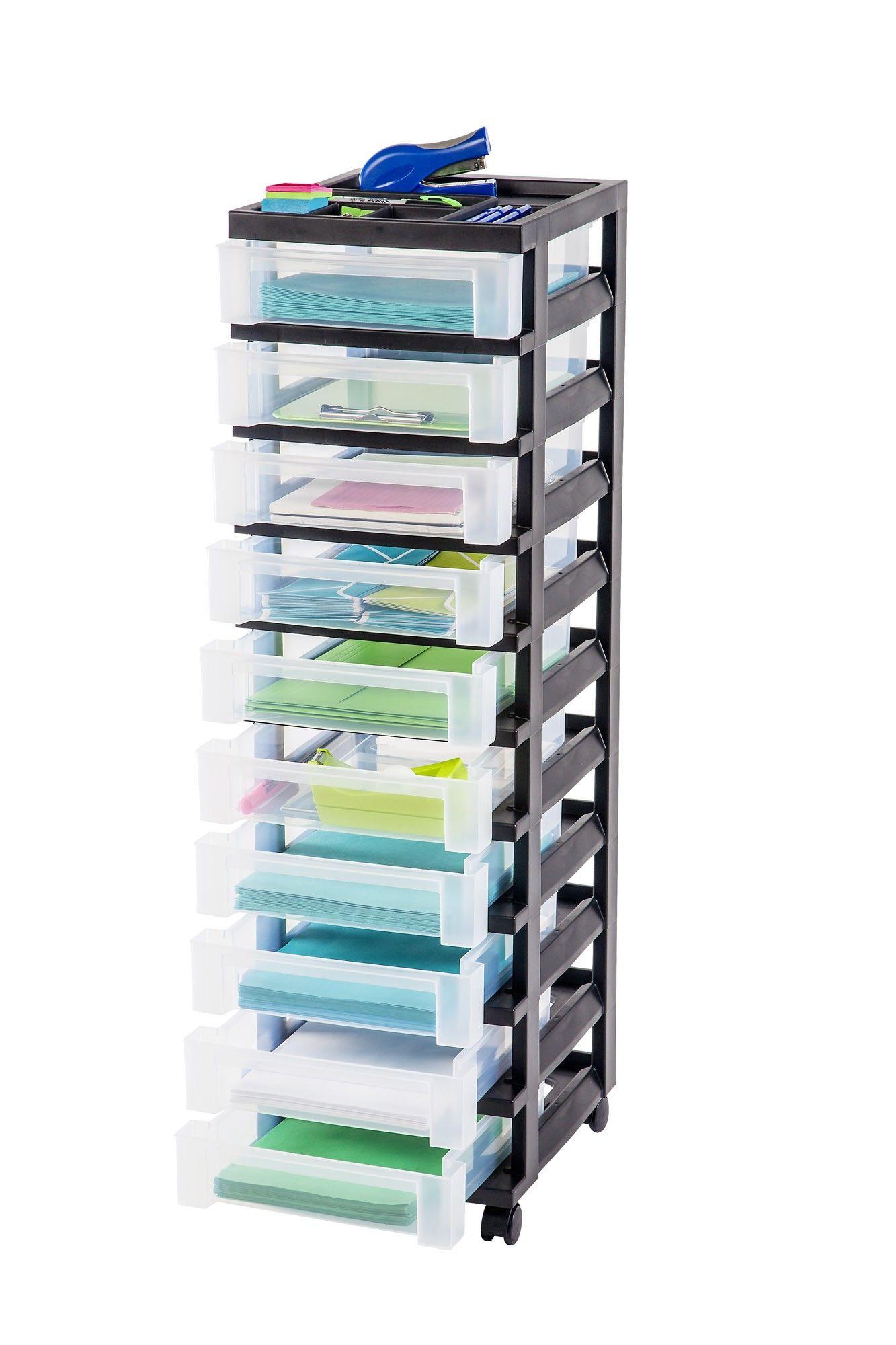 10 Drawer Cart With Organizer Top Plastic Storage Drawers