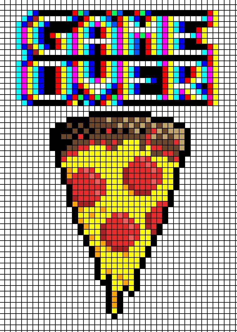 Game Over Pizza Cross Stitch Pattern Perler Bead Pattern
