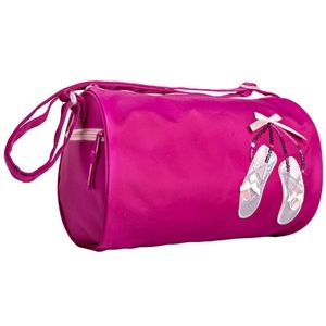 Your young dancer will love this bright pink dance duffel bag with  embroidered pink ballet shoes 5d9cf96059fcb