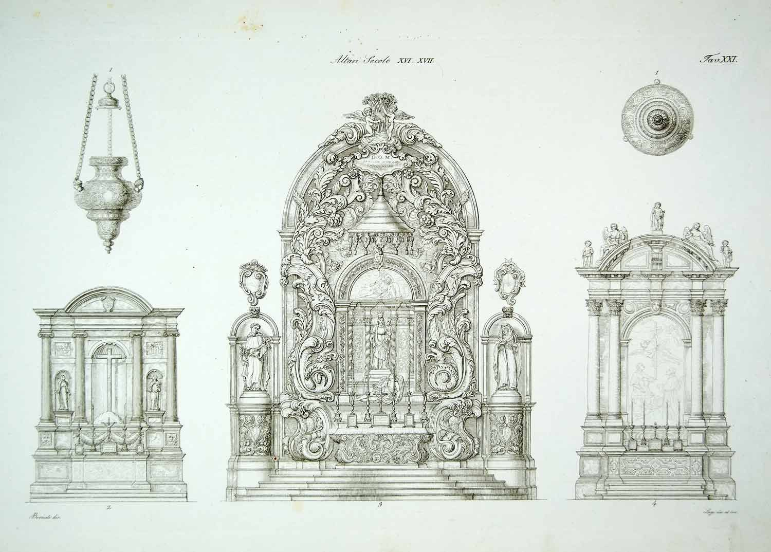 1843 copper engraving antonio bernati art baroque architecture
