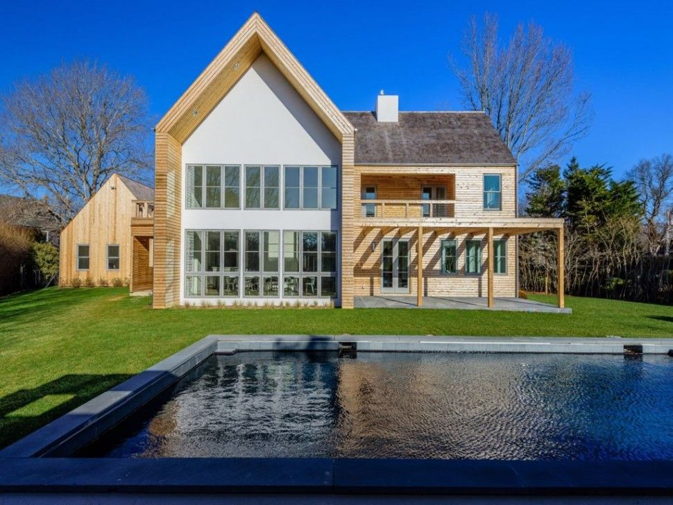 Architectures:Breathtaking Modern Barn Style House Architecture Rectangle Swimming Pool Green Grass Fields Clear Glass Front Facade Grey Tiles Roofing All Things You Need to Know about Modern Barn Home