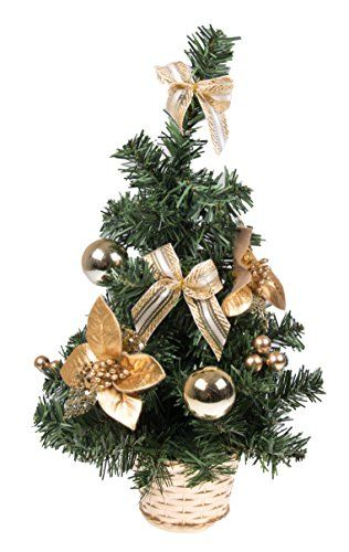small artificial christmas tree with gold bows and ornaments 16 tall - Small Artificial Christmas Tree