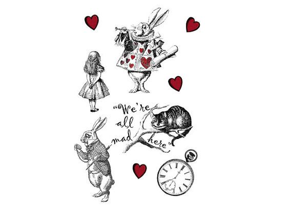 Set of 6 Alice in Wonderland Temporary Tattoo:Two White