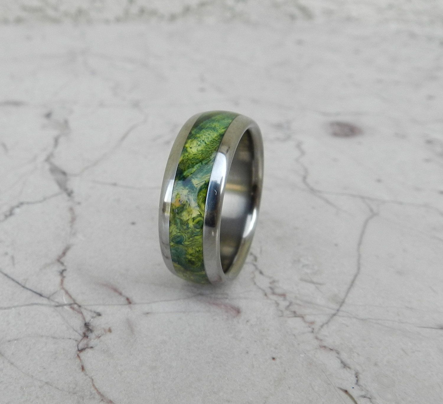 Tungsten Ring Green Maple Burl Wood Mens or La s by usajewelry