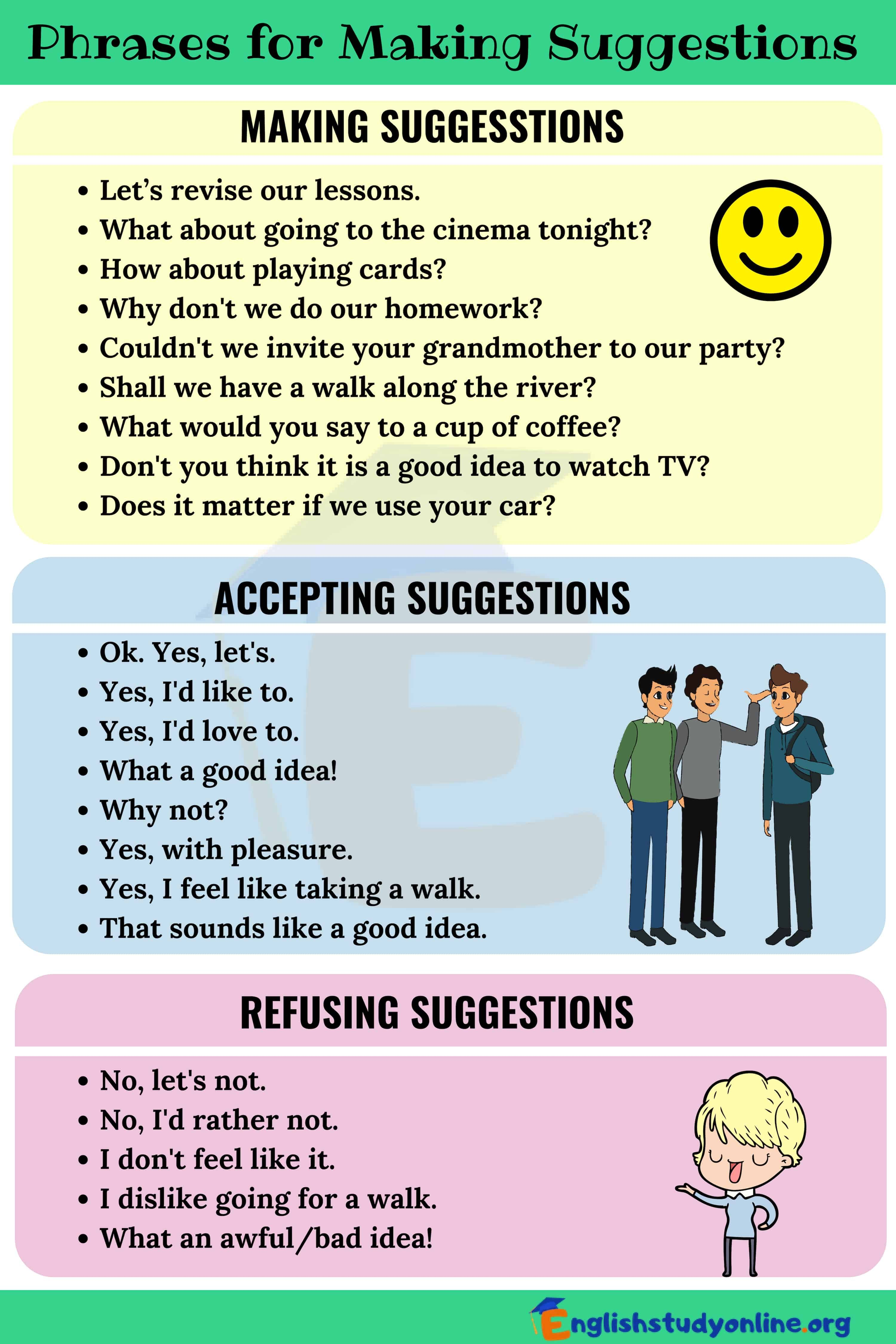 Making Suggestions Many Useful Phrases To Make Suggestions In English English Study On In 2020 English Conversation Learning English Study Learn English Vocabulary