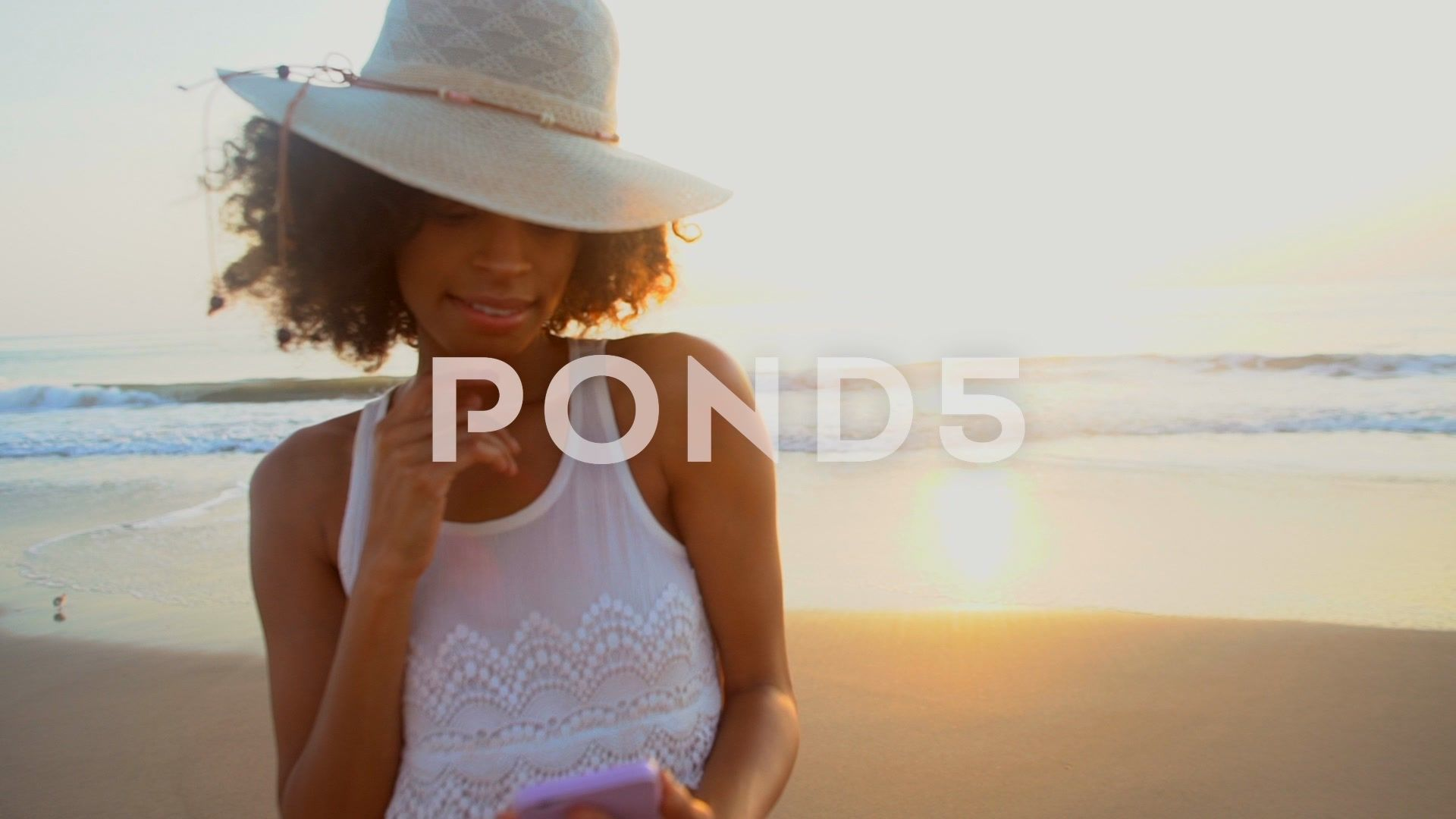 2c875641a1 Young African American female making video diary on ocean beach Stock  Footage,#female#making#American#Young