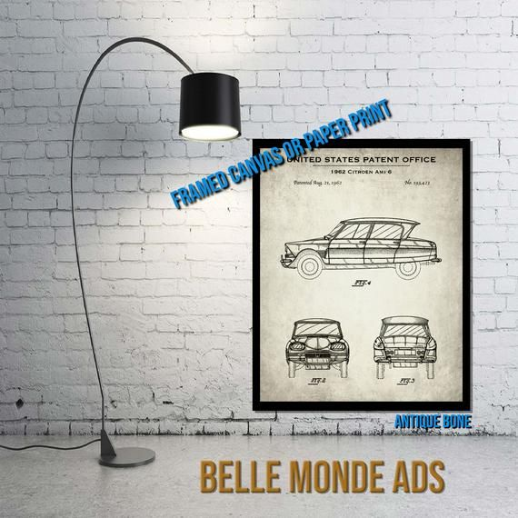 1962 Citroen Ami 6 Automobile Patent Print – Vintage Vehicle Poster Art – Classic Car Decor – Automobilia Gift – Paper or Canvas