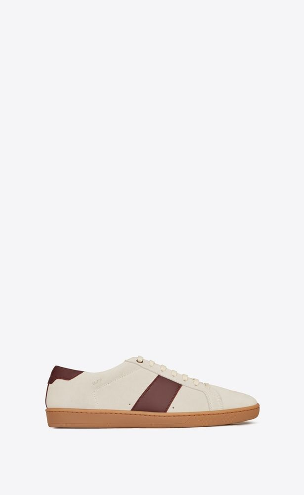 b21fd5e0d SAINT LAURENT Low Sneakers Man Court Classic SL/01 sneaker in cream and  burgundy leather a_V4