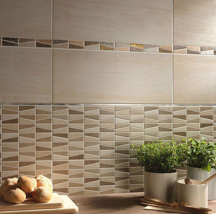 Kitchen_Herberia Lignum wall beige 25x60 mix mosaic beige and listel gold Cucina_Herberia