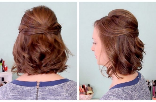 Partial Updos For Medium Hair Quick Half Up Hairstyle For Short Hair Youtube Half Up Hair Short Wedding Hair Prom Hairstyles For Short Hair