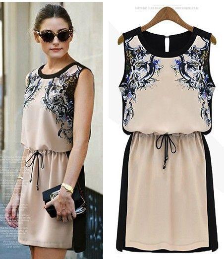 Print Dresses Fashion 2017 Summer Female Vestidos Chiffon Casual Dress Women Sleeveless Knee Length Vintage S