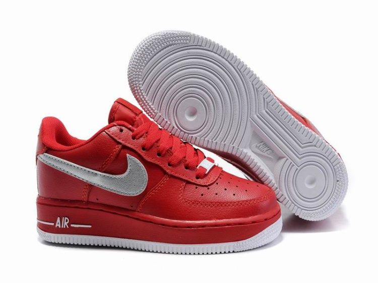 Discount Authentic Womens Nike Air force 1 low Shoes China Red/Black/White
