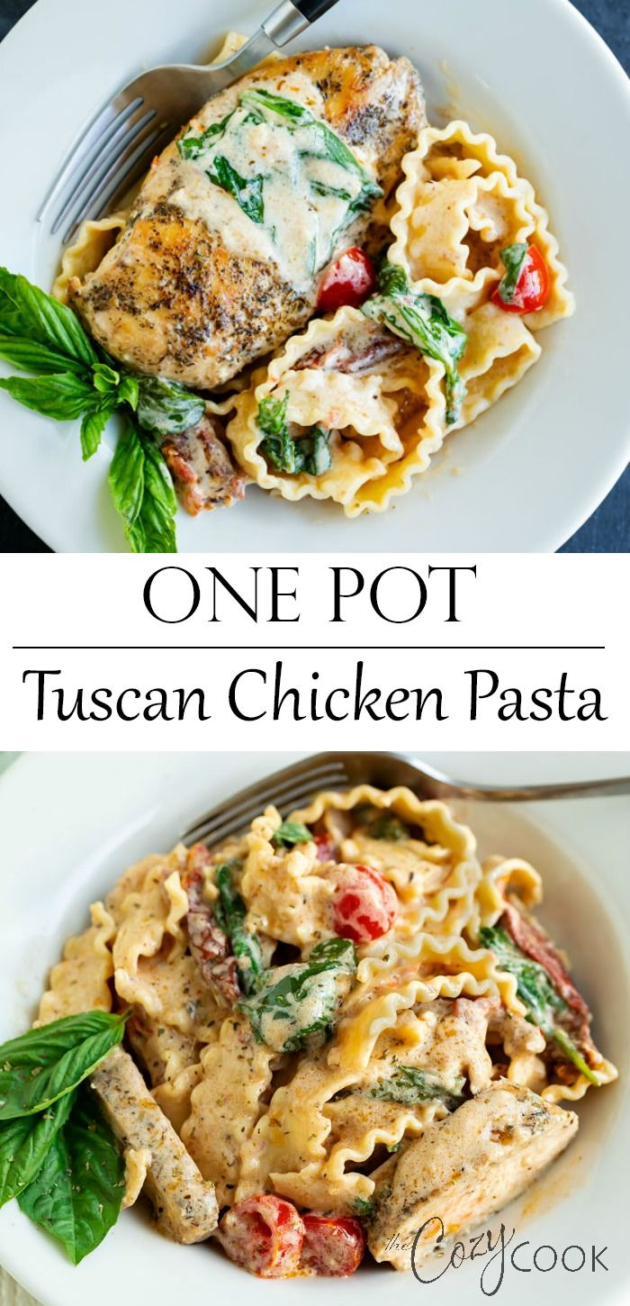 One Pot Tuscan Chicken Pasta #fallrecipesdinner