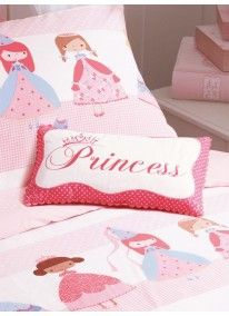 Princess Embroidered Cushion Pink