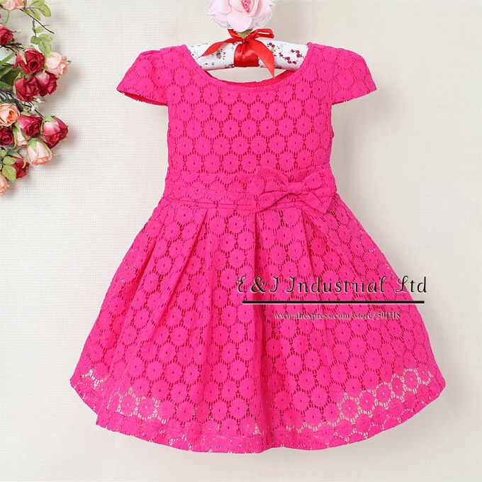 2013 Fashion Little Kids Dresses Elegant Girl Hot Pink With Belt ...