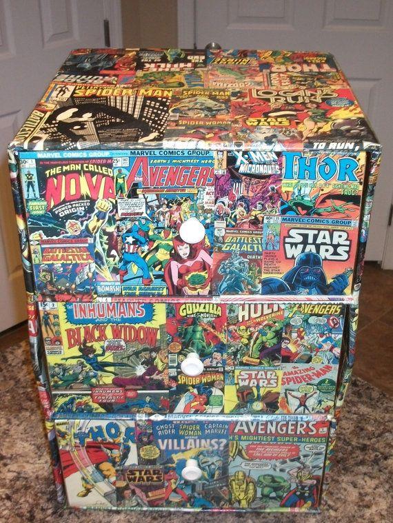 Marvel custom decoupage comics collage Upcycled 3 by KRACALACTAKA