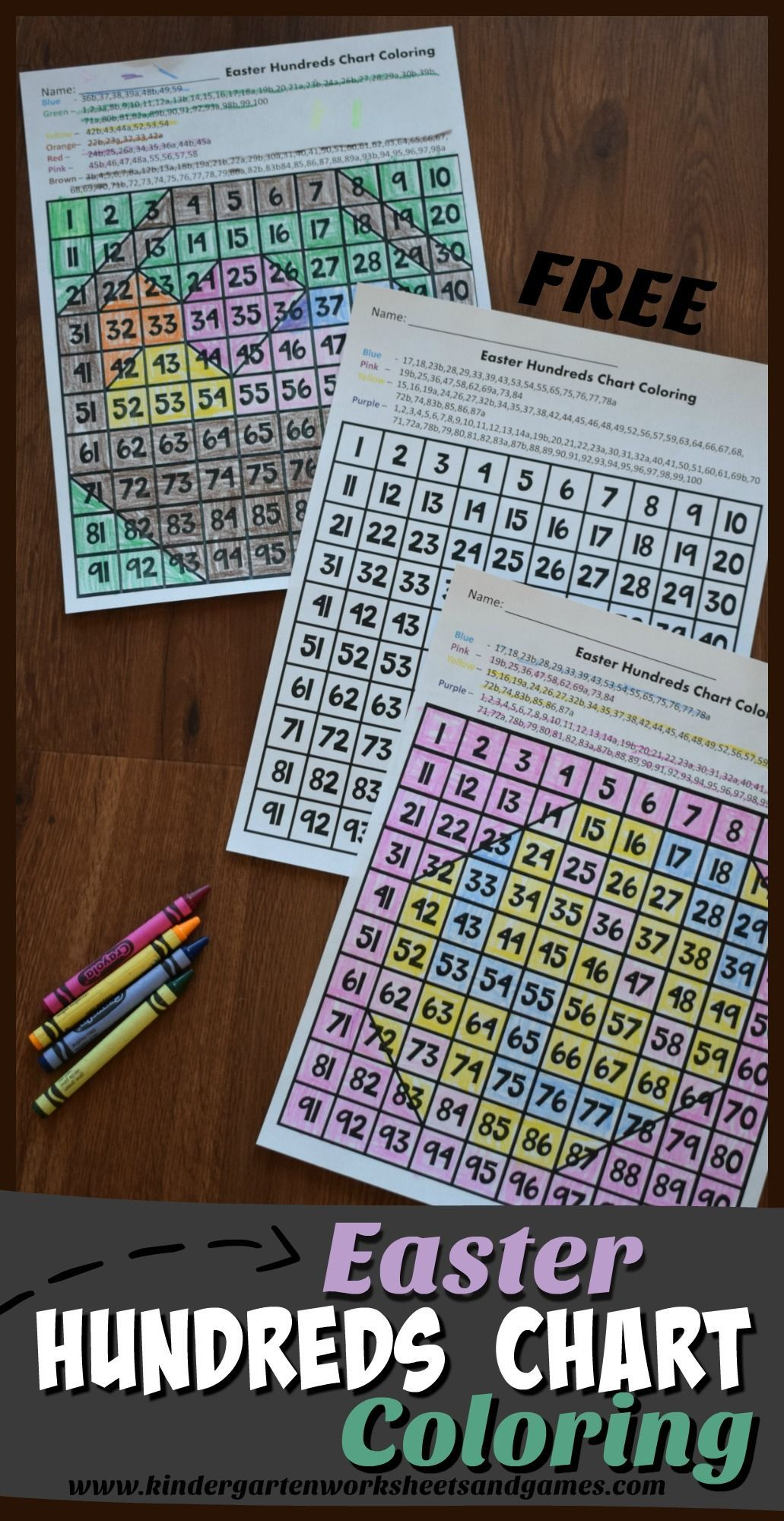 FREE Easter Hundreds Chart Coloring - these free printable math ...