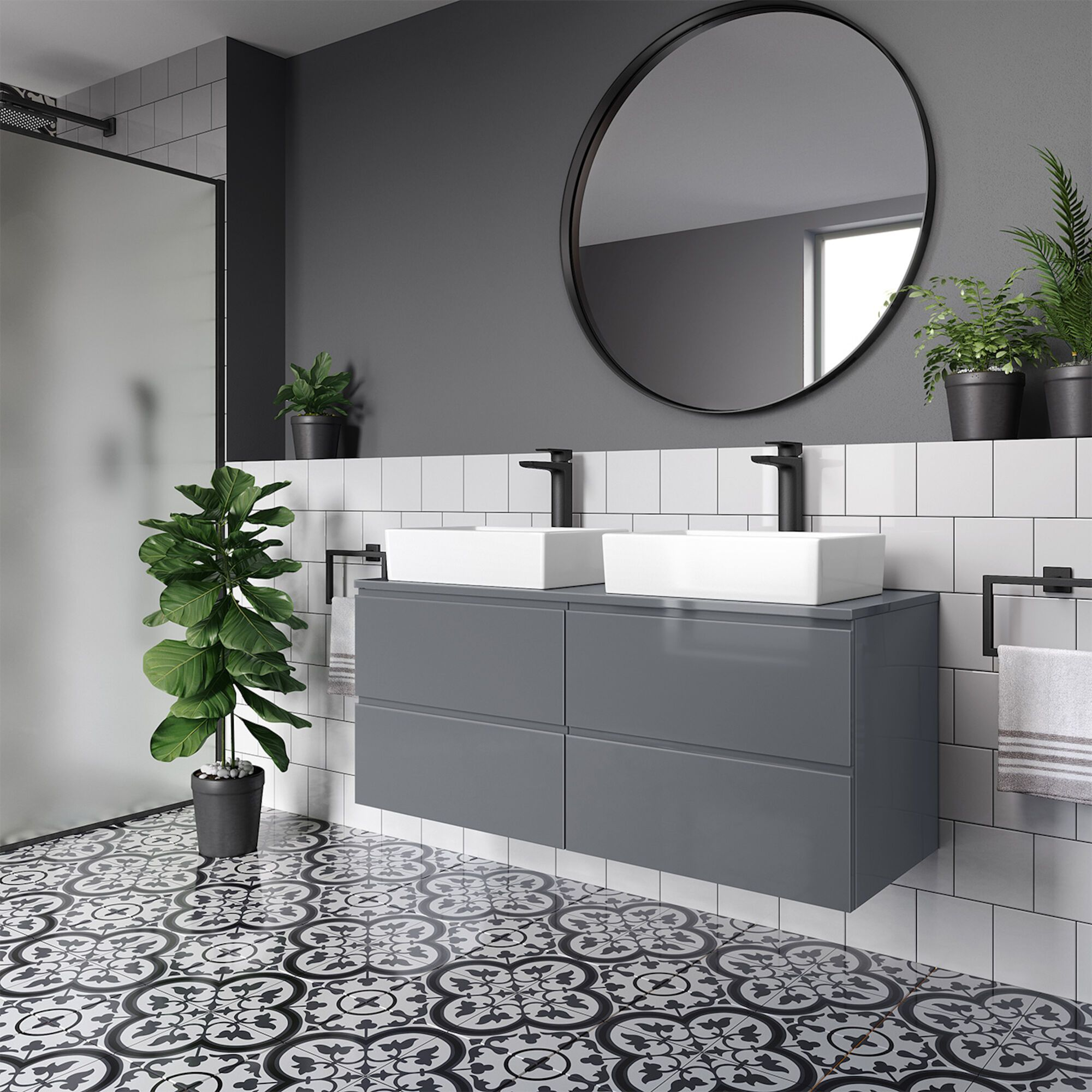 Trevia Gloss Grey Double Alicia Basin Countertop Vanity Unit 1200mm Soak Com Double Basin Vanity Unit Basin Vanity Unit Vanity Units