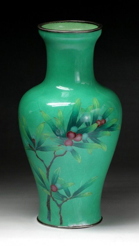 A Japanese Antique Silver Ando Cloisonne Vase On East Asian Art