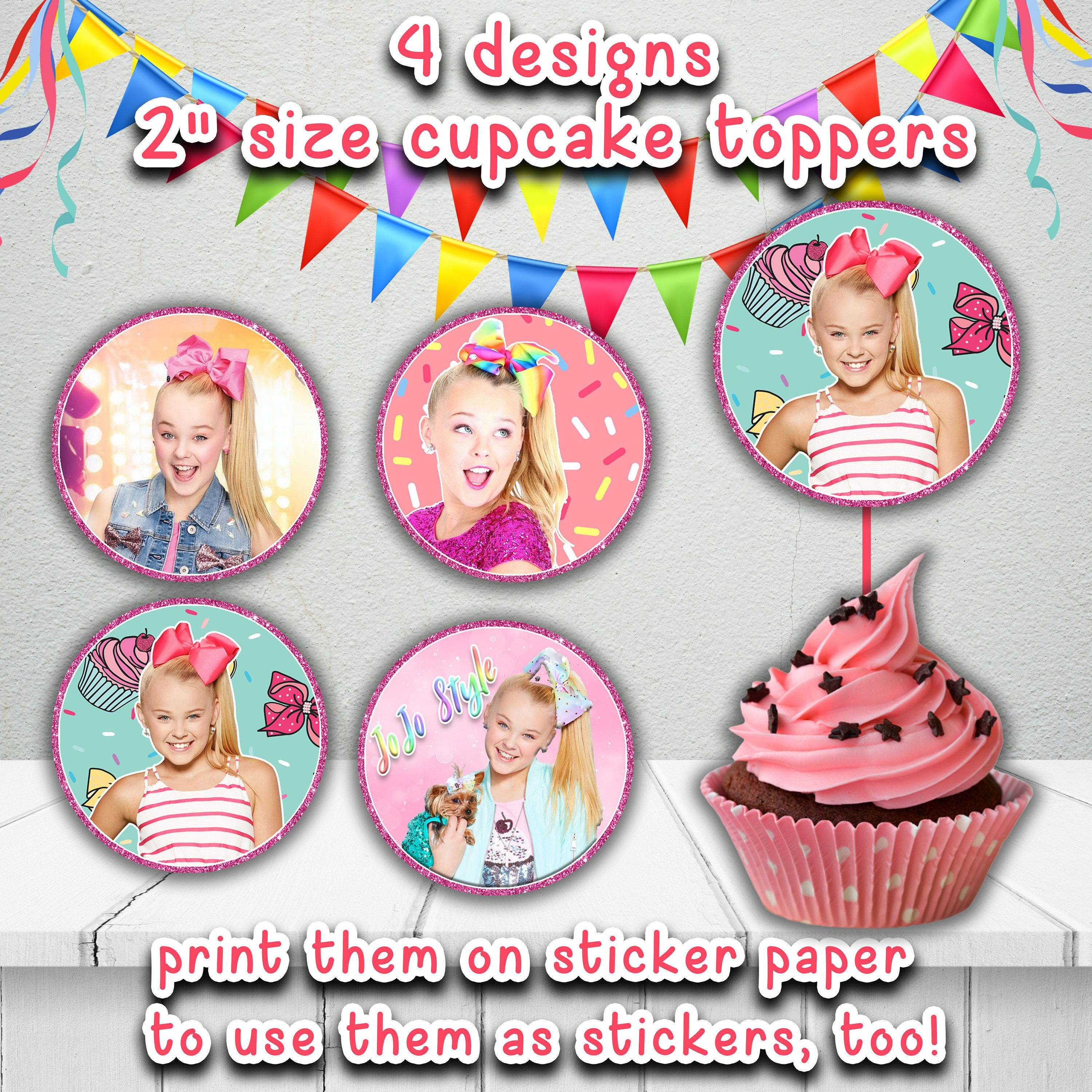 JOJO SIWA Cupcake TOPPERSJoJo Siwa Style Printable StickersJoJo Toppersjo Jo Party SuppliesJoJo Birthday Diy