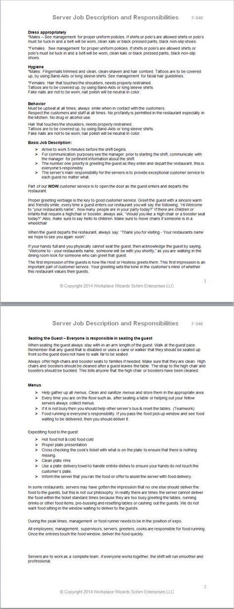 Server Job Description  Resteraunt Charts    Job